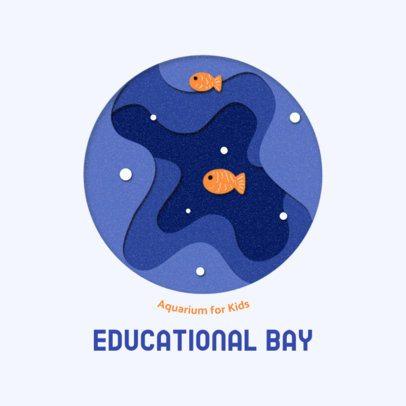 Logo Template With Aquatic Paper Cut Illustrations 2999e