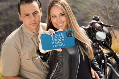 Phone Case for iPhone 11 Mockup Featuring a Biker Couple 31861