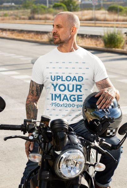 T-Shirt Mockup Featuring a Man on His Motorcycle 31784