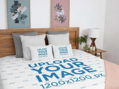 Mockup of a Duvet Cover and Two Square Pillows in a Classy Bedroom 31323