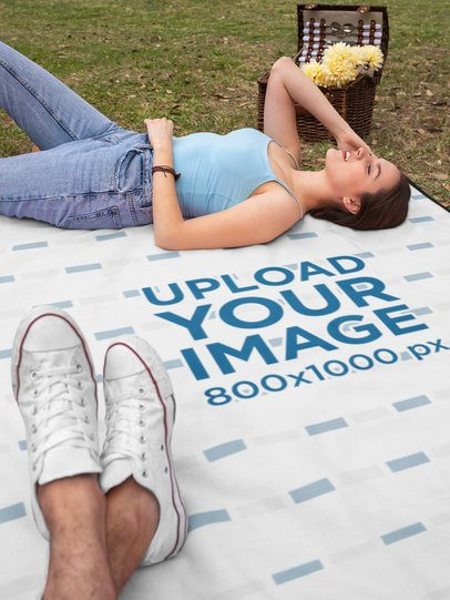 Blanket Mockup Featuring a Couple on a Picnic 32292