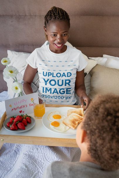 T-Shirt Mockup of a Woman Having Breakfast on Mother's Day 32648
