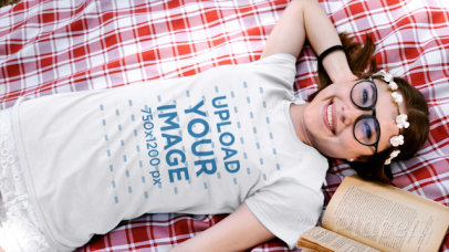 T-Shirt Video of a Woman Lying Down in Nature 32716
