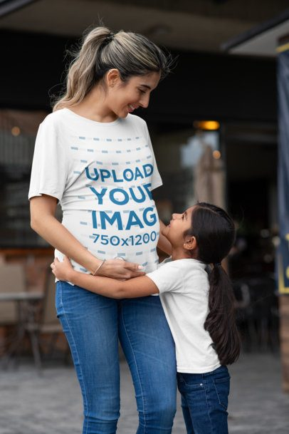 T-Shirt Mockup Featuring a Little Girl Hugging Her Mother 32250