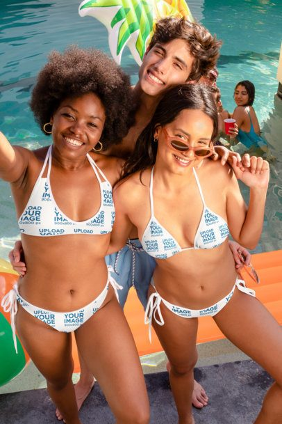 Two-Piece Swimsuit Mockup of Friends Hanging at a Pool Party 32686