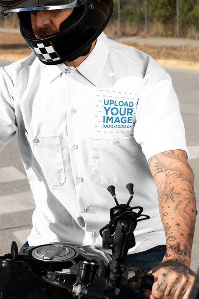 Button Up Shirt Mockup of a Tattooed Man on His Motorcycle 31839