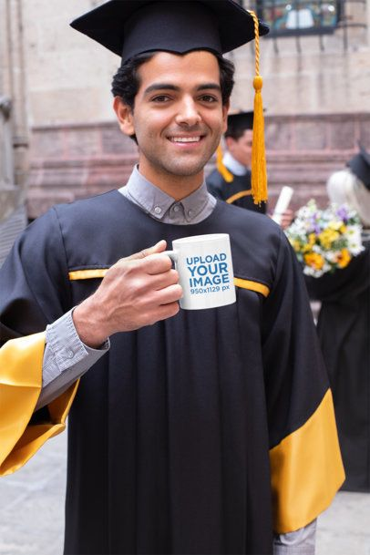 11 oz Coffee Mug Mockup Featuring a Man on His Graduation Day 32621