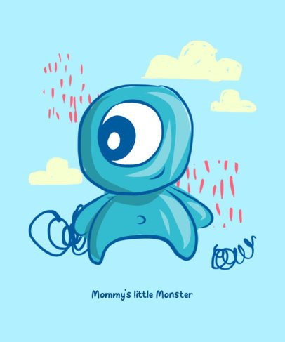 Cute T-Shirt Design Generator Featuring a Happy Baby Monster Illustration 427a-el1