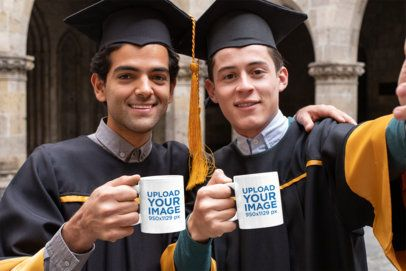 Mockup Featuring Two Graduates Taking a Selfie with Their Coffee Mugs 32623