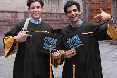 Graduation Cap Mockup Featuring Two Graduates 32620
