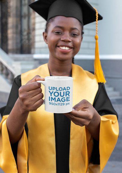 Mockup Featuring a Graduate Holding an 11 oz Mug 32615