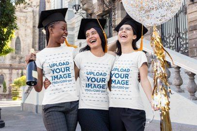 T-Shirt Mockup of Three Women Celebrating Their Graduation 32562