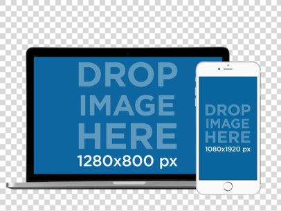 MacBook Pro Mockup with a White iPhone 6 in Front View a11923