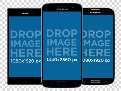 3 Black Android Phones Mockup in Portrait Position Over a PNG Background b11880