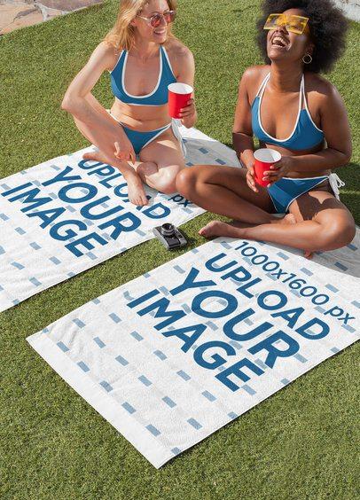Towel Mockup Featuring Two Women Enjoying a Spring Break Party 32694