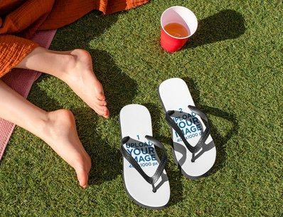 Flip Flop Mockups Featuring a Spring Break Setting 32695