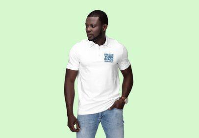 Polo Shirt Mockup of a Serious Man at a Studio 3206-el1