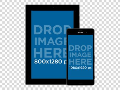 Android Galaxy Tablet with Android Phone Responsive Mockup Over a PNG Background a11881