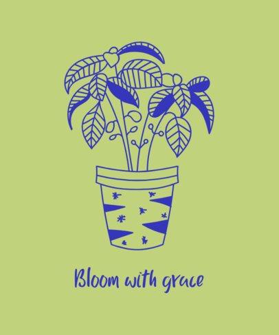 T-Shirt Design Template with a Home Plant Pot 392a-el1