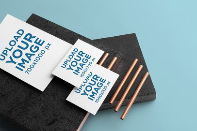 A6 Letterhead Mockup Featuring Two Business Cards 3183-el1