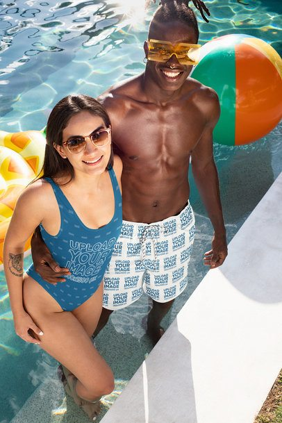 Mockup of a Woman in a Swimsuit with Her Friend Wearing Swim Trunks 32692