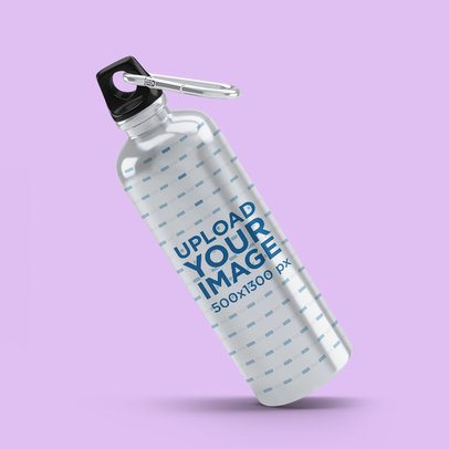 Mockup of an Aluminum Bottle Floating Over a Plain Color Surface 3071-el1