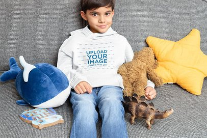 Pullover Hoodie Mockup Featuring a Kid with His Cuddly Toys 32170
