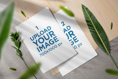 Mockup of Two Letterheads Featuring Some Plants 3172-el1