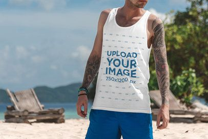 Tank Top Mockup of a Tattooed Man Enjoying the Beach 3316-el1