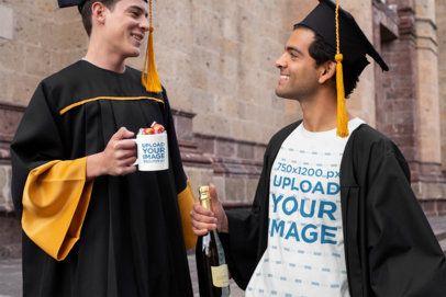 T-Shirt Mockup of Two Graduates with a Coffee Mug 32626