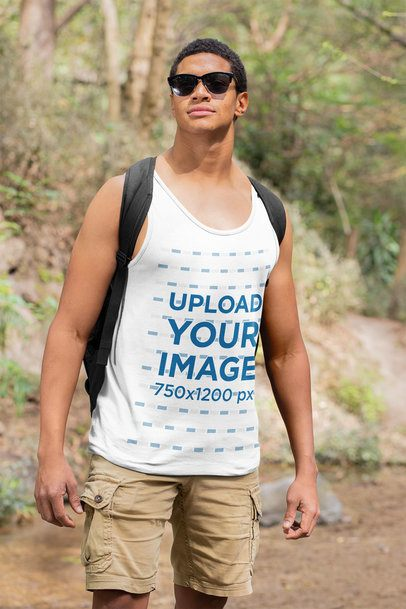 Mockup Featuring a Man with a Tank Top Hiking 32360