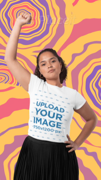 T-Shirt Video of a Woman with Her Fist Up Featuring Animated Background Graphics 3206v