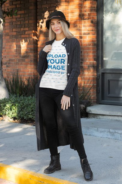 T-Shirt Mockup of a Woman in a Fall Outfit 31814