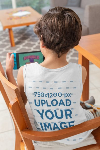 Back-View Tank Top Mockup of a Kid Playing Video Games 32357