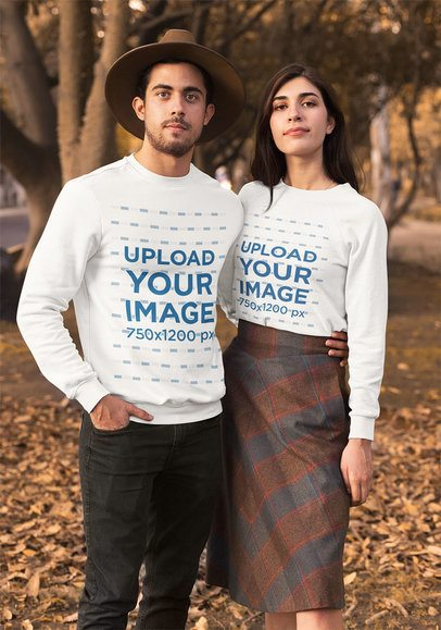 Mockup of a Couple Wearing Long Sleeve T-Shirts in Autumn 31808