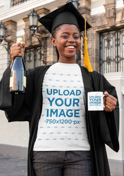 T-Shirt Mockup of a Happy Young Woman Holding an 11 oz Mug and Wearing a Graduation Gown 32571