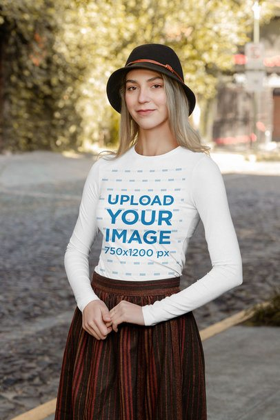 Long Sleeve Tee Mockup Featuring a Woman Wearing a Classical Outfit 31821