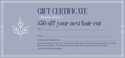 Elegant Gift Certificate for a Beauty Shop 2340e