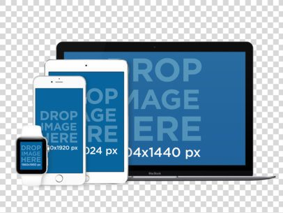 White iPhone 6, Apple Watch, iPad and MacBook Pro Set Over a Null Background Mockup a12345