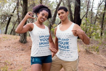 Mockup of a Proud Couple Showing Off Their Tank Tops 32370