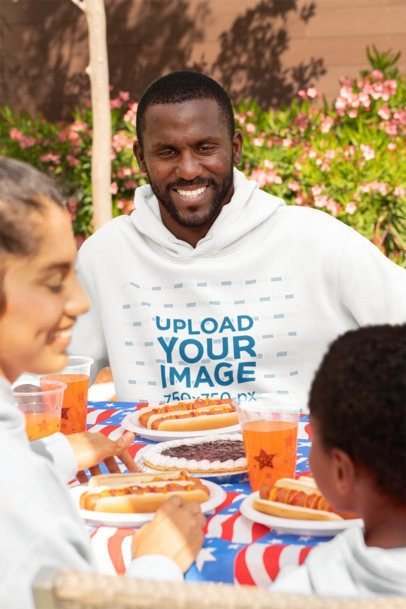 Hoodie Mockup of a Man at a 4th of July Party 33020