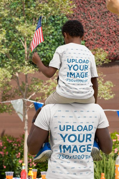 Back View T-Shirt Mockup Featuring a Dad and Son on 4th of July 33012