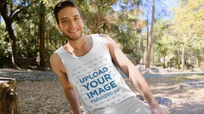 Tank Top Video of a Young Man at a Park 32740