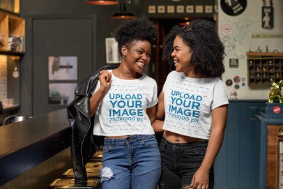 Crop Top Mockup Featuring Two Friends Having Fun at a Restaurant 32197
