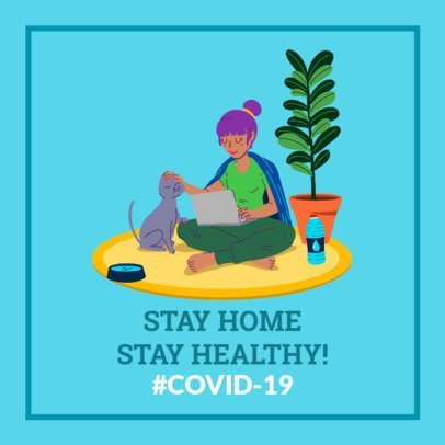 Coronavirus Awareness Facebook Post Design Maker Featuring an Illustration of a Woman at Home 2026q-2392