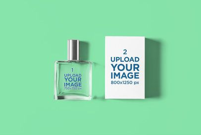Mockup of a Perfume Bottle and Its Box Placed on a Plain Surface 3293-el1