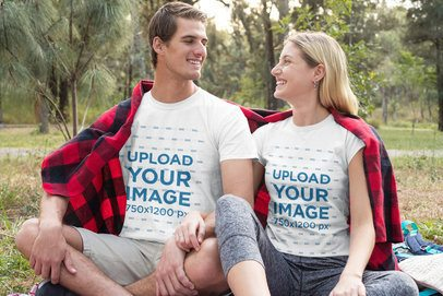 T-Shirt Mockup of a Happy Couple Relaxing in Nature 32239