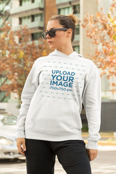 Athleisure Hoodie Mockup Featuring a Woman on the Street 32449