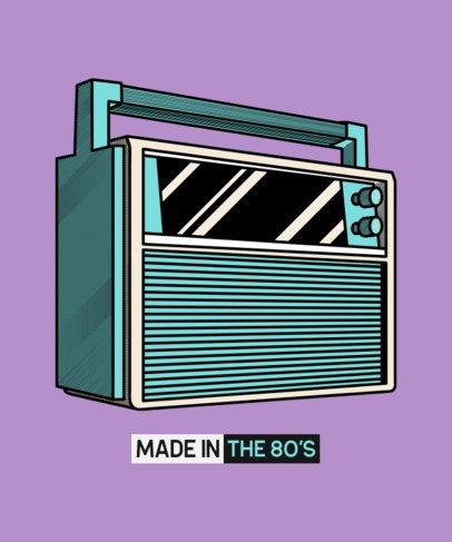 80s T-Shirt Design Maker with an Audio Device Illustration 602b-el1