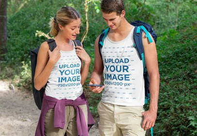Tank Top Mockup of a Hiker Couple Using a Phone 32230